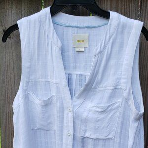 Maeve White V neck sleeveless button up top size 8